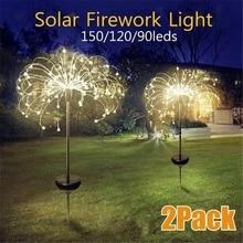 Solar Powered Outdoor Grass Globe Dandelion Lamp 90/120/150 LED For Garden Lawn Lawn