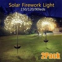 Lámpara de diente de león de globo de hierba alimentada por energía Solar para exteriores, 90/120/150 LED para césped y jardín, lámpara de paisaje, luz de vacaciones
