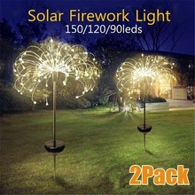 Solar Powered Outdoor  Grass Globe Dandelion Lamp 90/120/150 LED For Garden Lawn Landscape Lamp Holiday Light