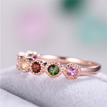 Exquisite Rose Gold Crystal Rings Cocktail Birthstone Gems Lover's Ring Birthday Christmas Gifts Fine Jewelry