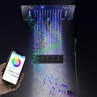 Newly Music Shower Set Bathroom Ceiling LED Shower Panel Rainfall Waterfall Shower Head Thermostatic Black Shower Faucets