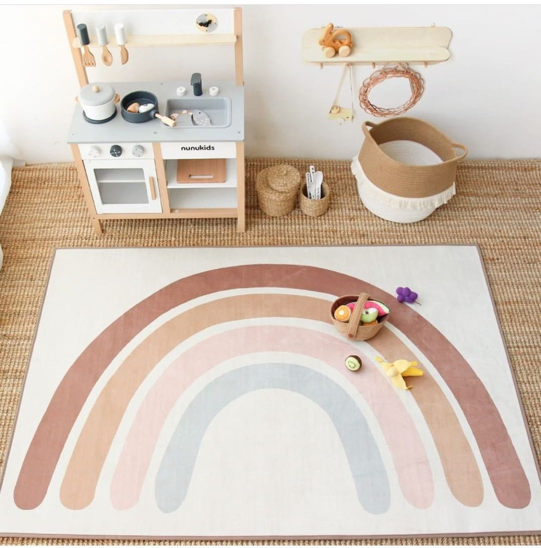 Baby Play Mats Kids Rug Floor Mat Tapete Quarto Rainbow Boho Children Playmat Nursery Decor Tummy Time Rugs For Bedroom
