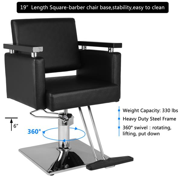 Black Leather Barber Chair Haircut Rotating Stool Barber Shop Hair Salon Chair Adjustable Chair For Hairdressers SKU40860946