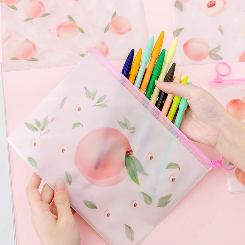 Piórnik różowa brzoskwinia pierścień Zipper PVC Folder torba na dokumenty torba na materiały piśmienne piórnik szkolny artykuły szkolne