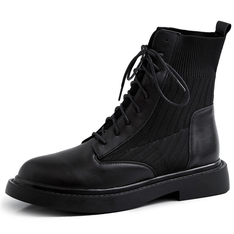Image 2 - FEDONAS New Patchwork Genuine Leather Knitting Short Boots Women Ankle Boots Office Shoes Woman 2020 Winter Warm High Heels-in Ankle Boots from Shoes