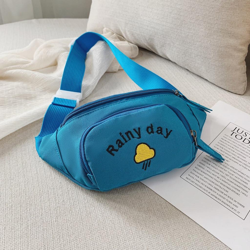 2019 Hot Sale Solid Color Child Joker Crossbody Waist Purse Cartoon Canvas Zipper Chest Bags Pocket Pocket Shoulder Bag 826