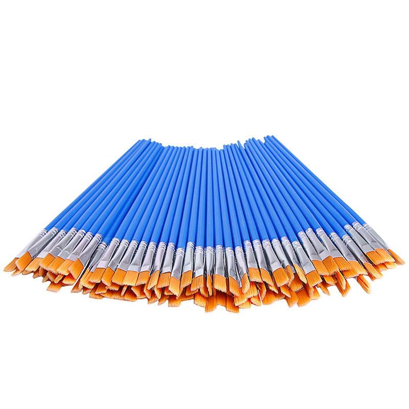 100 Pcs Flat Paint Brushes,Small Brush Bulk For Detail Painting,Nylon Hair Brushes Acrylic Oil Watercolor Fine Art Painting For