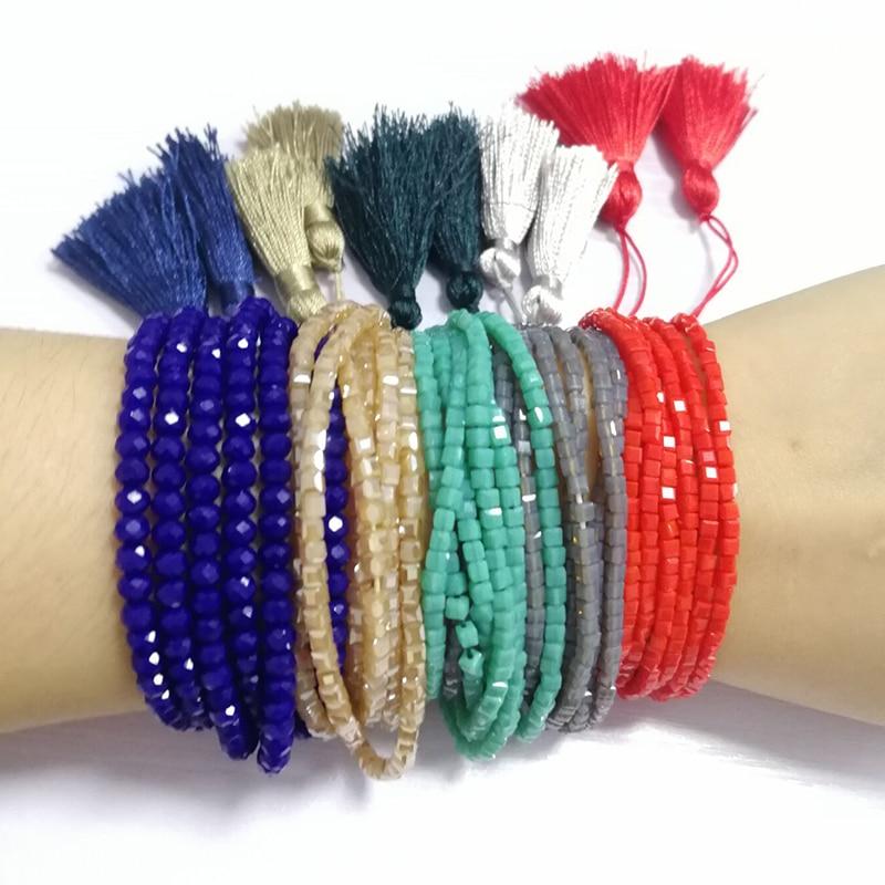 SHINUS BOHO Friendship Bracelets Men Crystal Beaded Jewelry 6 Line Strand Charm pulseras mujer Statement Bracelets for Women