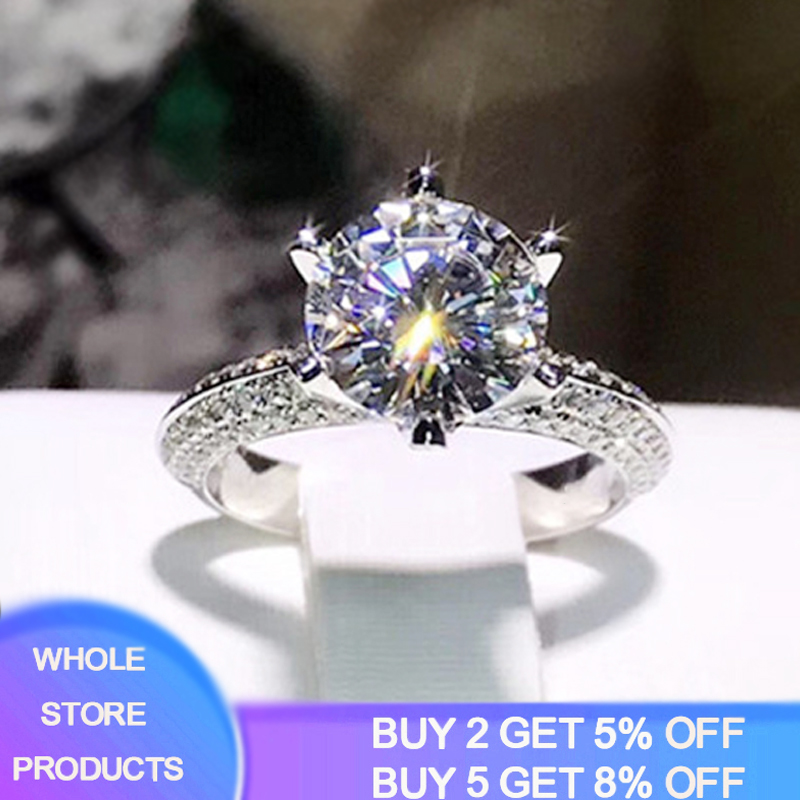 90% Off! Luxury 8mm 2 Carat Zirconia Moissanite Ring Female 925 Silver Wedding Rings Jewelry Promise Engagement Rings For Women