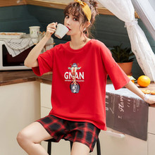 Summer pajamas womens summer pure cotton short sleeve shorts big red plaid two piece home clothes set