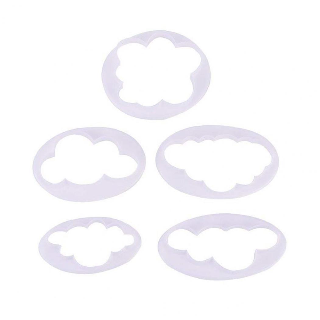 5Pcs Cloud Fondant Model Cake Decoration Printing Mold Cutter For Kitchen Tool Baking Cake Bakeware Gumpaste Modelling Tools