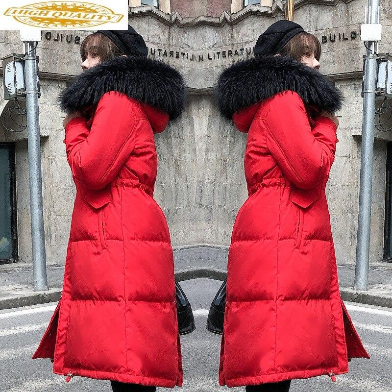 2020 New Winter Coat Duck Down Jacket Woman Hooded Raccoon Fur Collar Long Womens Jackets Puffer Chaqueta Mujer KJ2553