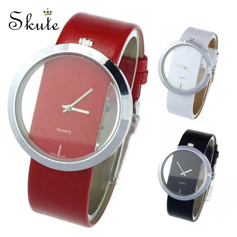 Skute Fashion Women Transparent Hollow Lovers Watch Men Leather Strap Wristwatch Couple Quartz Watches Clock Reloj Mujer Relogio