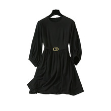 Summer and Autumn 2019 European American Womens Dress Court Style Seven Lantern Sleeve Temperament Waist Slim Black