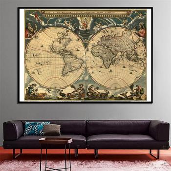 60x90cm Vintage World Latin Map Home Wall Decor HD Canvas Spray Painting for Office and School