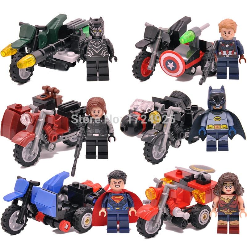 6pcs Super Hero Motor Figure Set Motorcycles Captain America Black Panther Batman Winter Soldier Building Block Models Toys