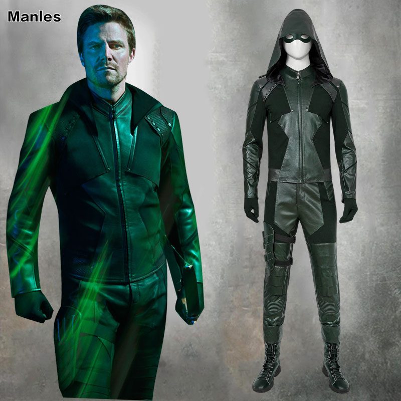 DC Arrow Season 8 Cosplay Costume Green Arrow Oliver Queen Arrowverse Adult Jacket Halloween Costumes For Unisex Custom Boots