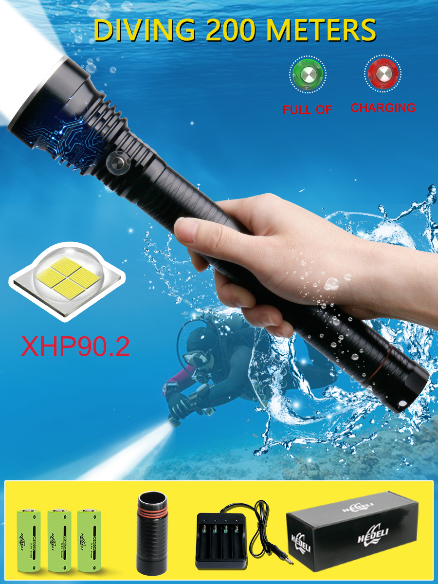 200m Profession Underwater Xhp90.2 Led Diving Flashlight XHP70 Led Dive Torch IXP8 Dive Scuba 26650 18650 Deep Sea Lantern Torch