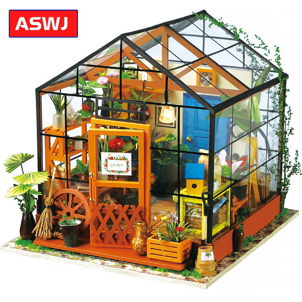 New Roombox Miniature DIY Dollhouse With Furnitures Wooden House Toys For Children Flower House Robotime Christmas Birthday Gift