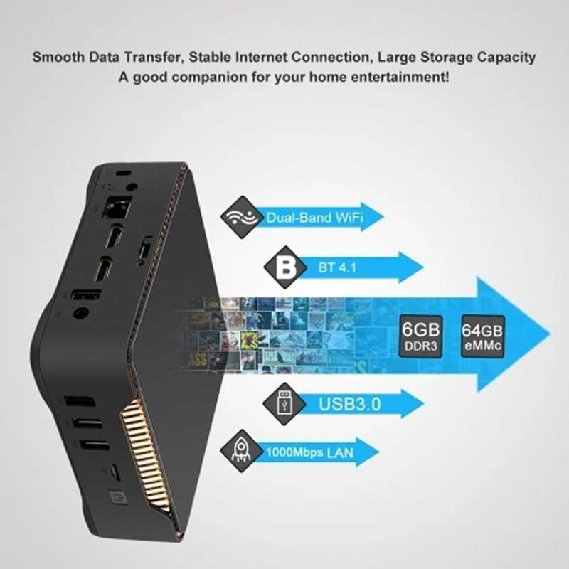AK3V ganar 10 Mini PC TV Box HD reproductor de medios 6 + 64G J3455 Chip/64Bit/2,4G/5G WiFi de doble banda/BT/4,1 4 K/USB3.0/SATA de 2,5 pulgadas