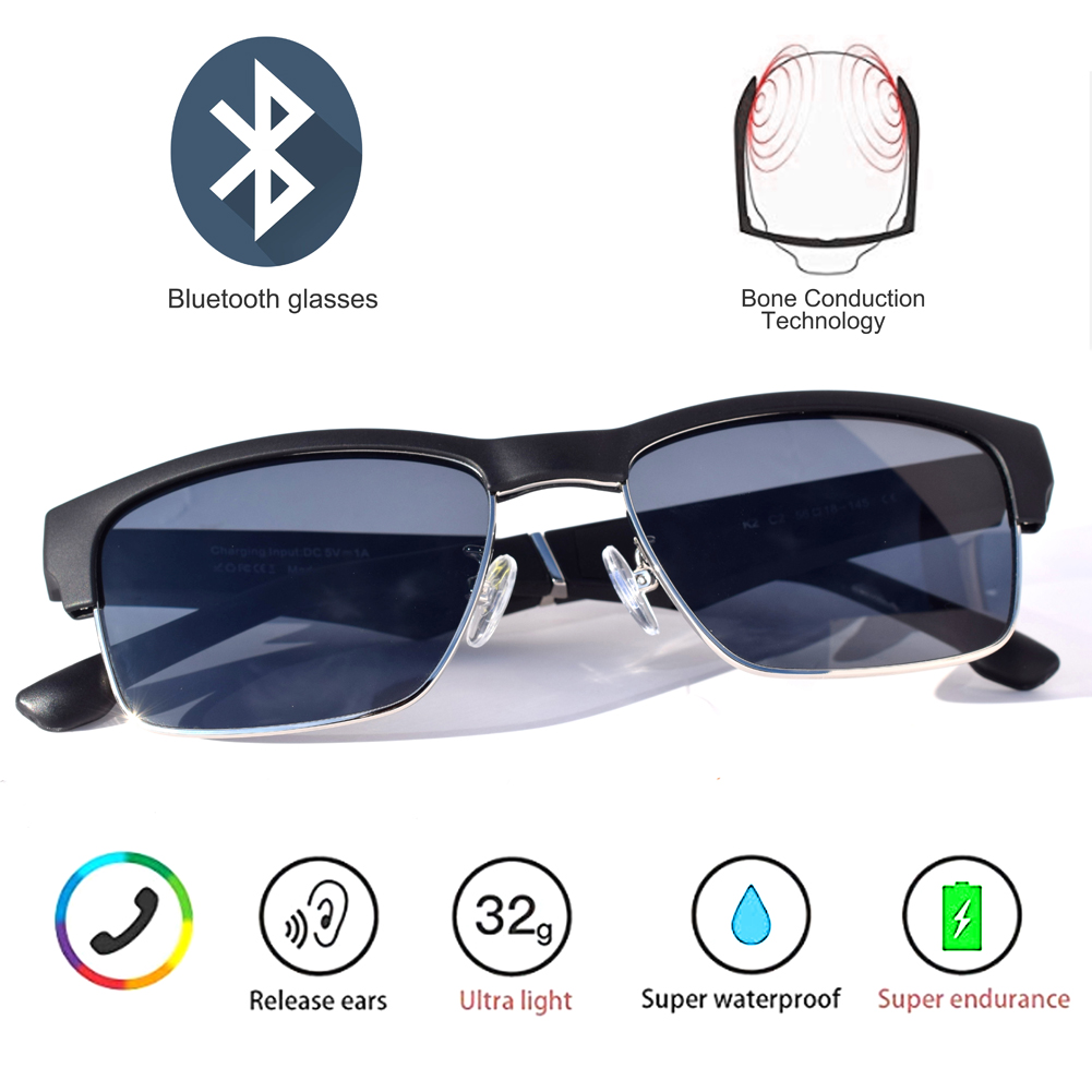 Smart Glasses Remote Control High Smart Glasses Waterproof Wireless Bluetooth Hands-Free Calling Music Audio Open Ear Sunglasses
