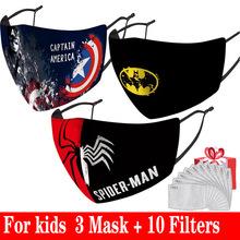 Superhero dzieci maska wielokrotnego użytku i zmywalny cartoon dzieci maska moda przeciw zanieczyszczeniom student usta maska bezpłatny filtr PM2 5 tanie tanio POLIESTER NONE Z Chin Kontynentalnych Chłopcy