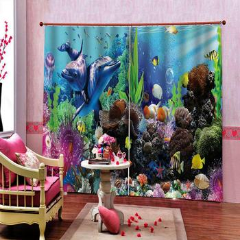 Undersea World Colorful Fish Marine Window Curtain for Living room bedroom blackout Drapes