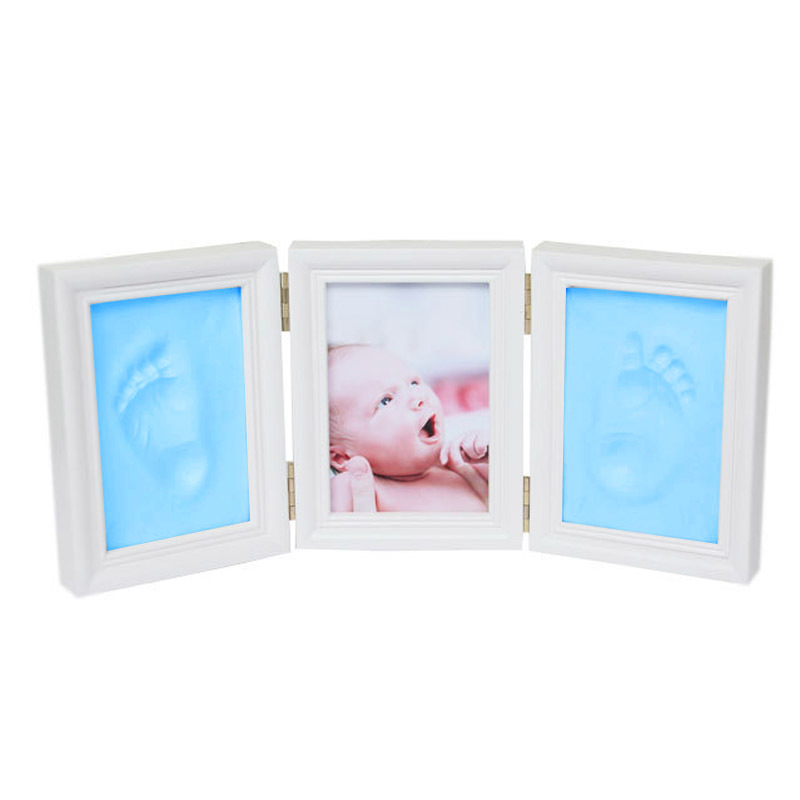 Babyhand And Foot Impression Hand And Foot Mold Makingbaby Photo Frame With Cover Fingerprint Mud Suit Growth Commemorative Gift