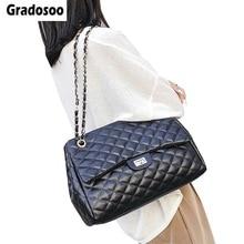 Gradosoo Thread Shoulder Bags Large Capacity Top-handle For Women Chain PU Leather Handbags Luxury Female HMB654