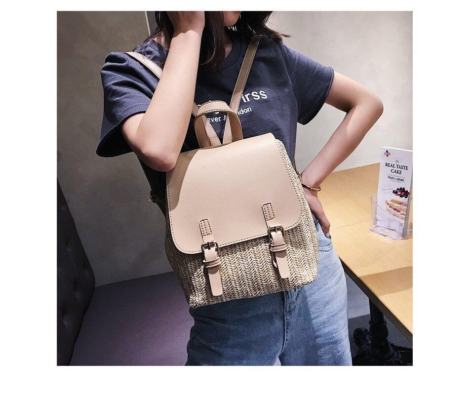 H42d73449d2f642ad8df86f046e6555bcB Herald Fashion Straw Woven Backpack Women Back Pack Autumn Teenage Girl Quality Backpacks Travel Bags Kawaii Rucksack Drop Ship