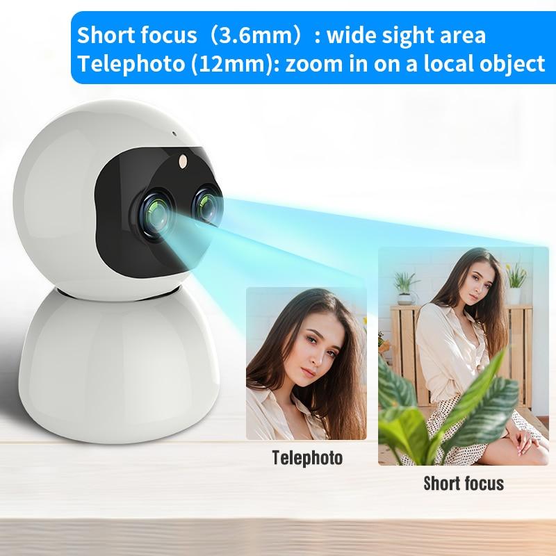 PTZ Dual Len Zoom Wireless IP Camera WiFi 1080P H.265 IR Night Vision Voice Call WiFi Camera Security Surveillance