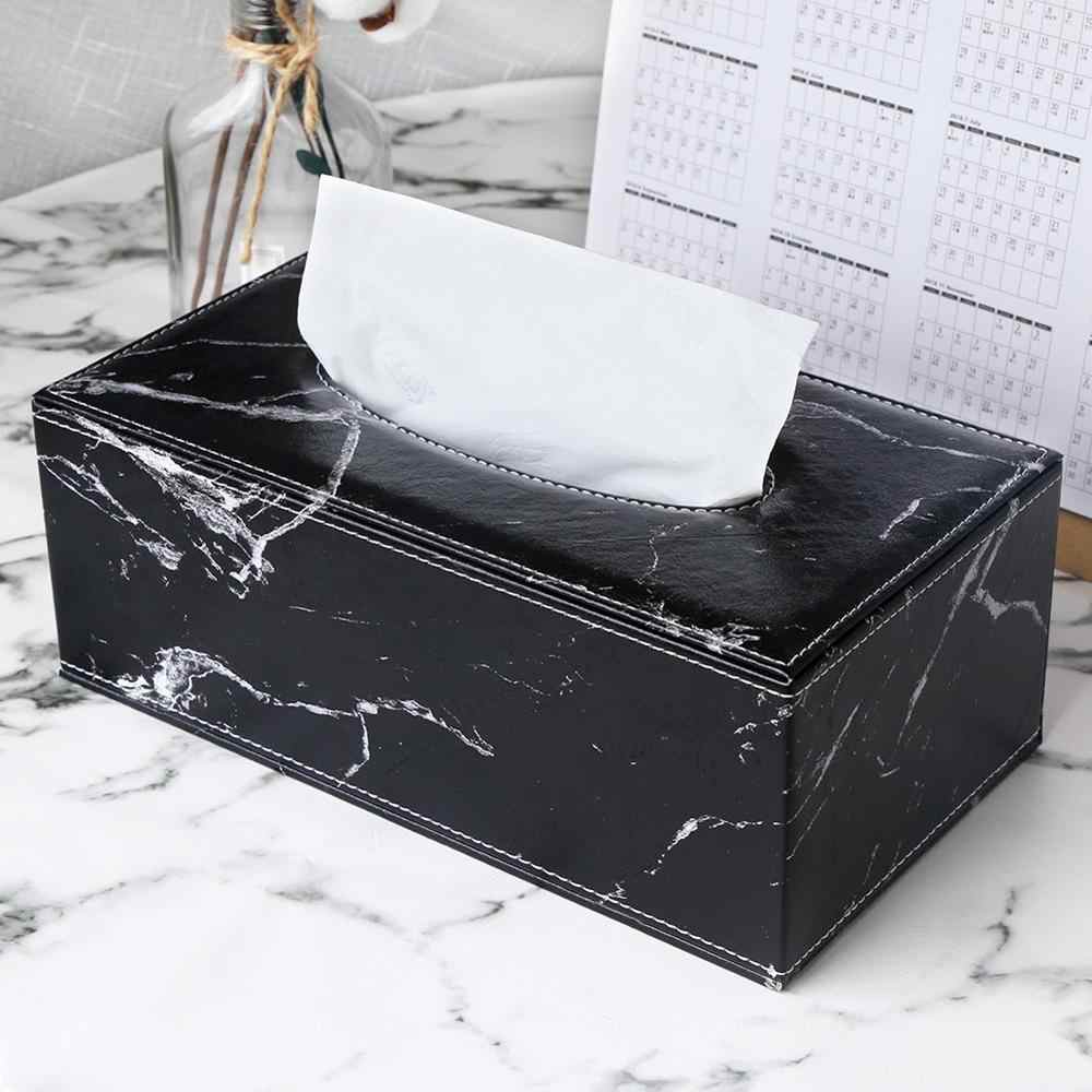 Ever Perfect Modern Marble Rectangle Pu Leather Tissue Box Napkin