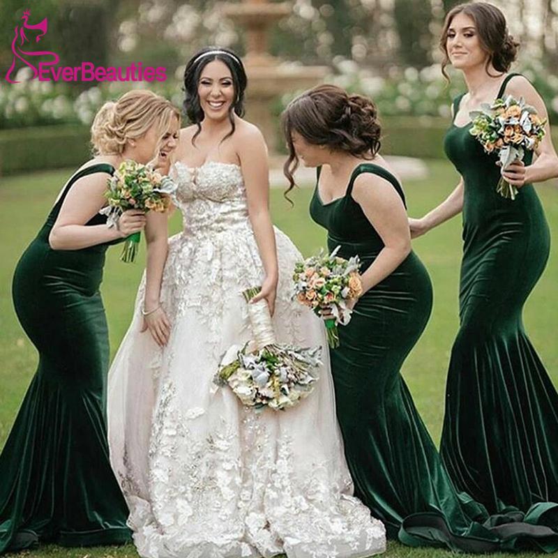 Simple Green Mermaid Spaghetti Straps Long Bridesmaid Dresses Velour Vestido Madrinha Wedding Guest Dress Vestido De Festa