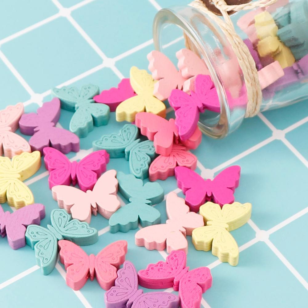 Милые Мультяшные бабочки 25 шт., яркие деревянные бусины для изготовления ювелирных изделий, разноцветные для изготовления сосок своими рук...