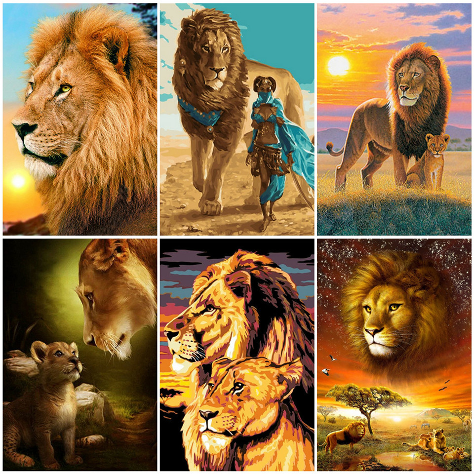 AZQSD Unframe Lion DIY Painting By Numbers On Canvas Wall Art  Acrylic Paint Kit Coloring By Numbers Animals Home Decoration
