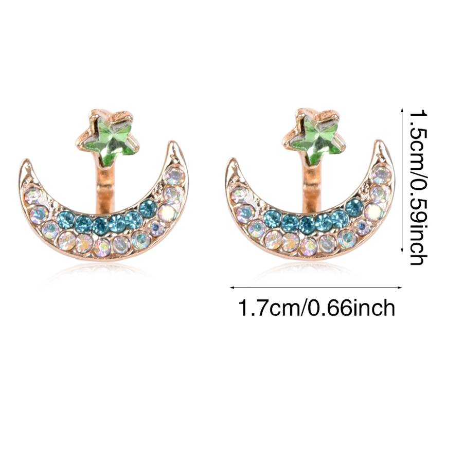 1 pair Gold color Leaf Crystal Earrings Double Sided Stud Earrings For Women Party Jewelry Top Quality Gift Romantic Ornaments in Stud Earrings from Jewelry Accessories