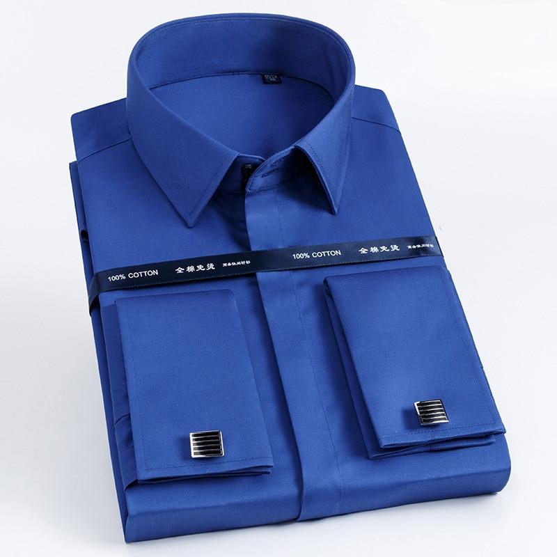 Image 4 - High Quality Men French Cufflinks Shirt Slim Fit Cotton Shirt Men  Long Sleeve Business Suits Wedding Party Free Lroning ShirtsDress  Shirts