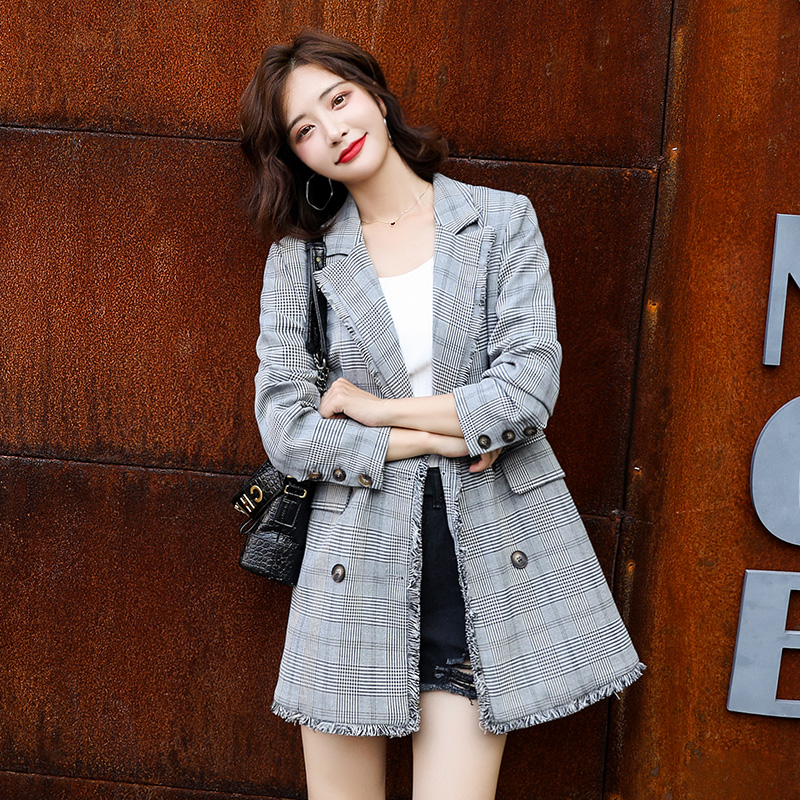 2020 Spring And Autumn Fashion New Style British Style Retro Plaid Small Suit Coat Mid-length Suit Online Celebrity Small Coat