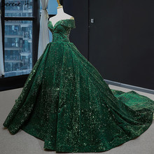 Latest Design Green Off Shoulder Plus Size Wedding Dress 2020 Sleeveless Luxury Lace Sequined Bridal Gown BHM66742 Couture Dress