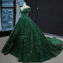 Nieuwste Ontwerp Groene Off Shoulder Plus Size Jurk 2020 Mouwloze Luxe Kant Lovertjes Bruidsjurk BHM66742 Couture Jurk