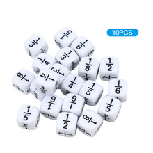 10 pezzi dadi di frazione bianca 16*16mm numeri frazionari dadi Montessori educativi per bambini giocattoli matematici per bambini giochi da tavolo per feste
