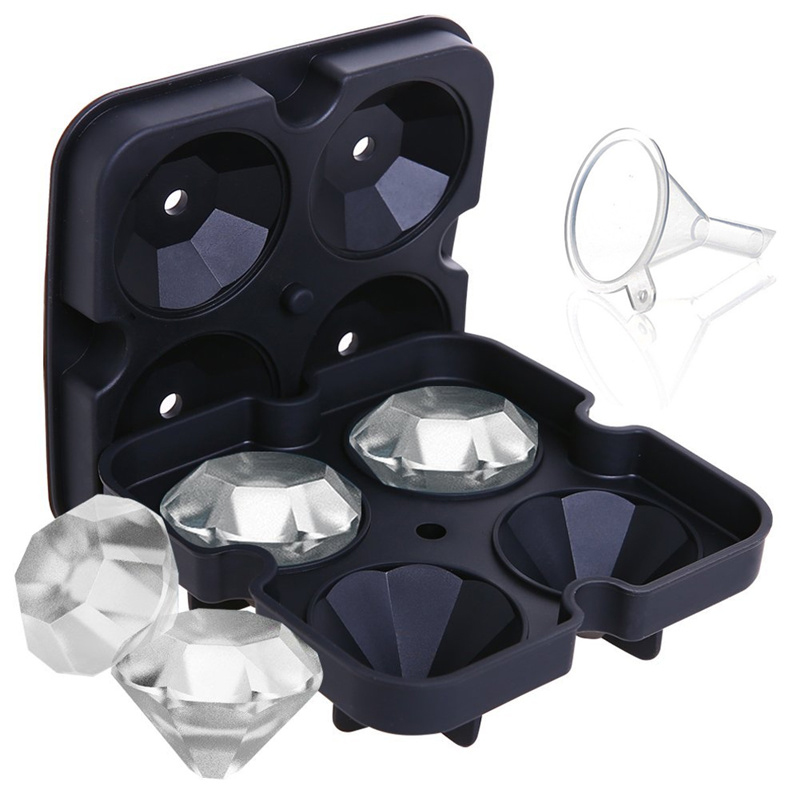 Silicone Ice Mold 3D Diamond Ice Cube Tray Mold Cocktail Whisky Ice Cube Ball Maker Chocolate Ice Mold Kitchen Bar Accessories
