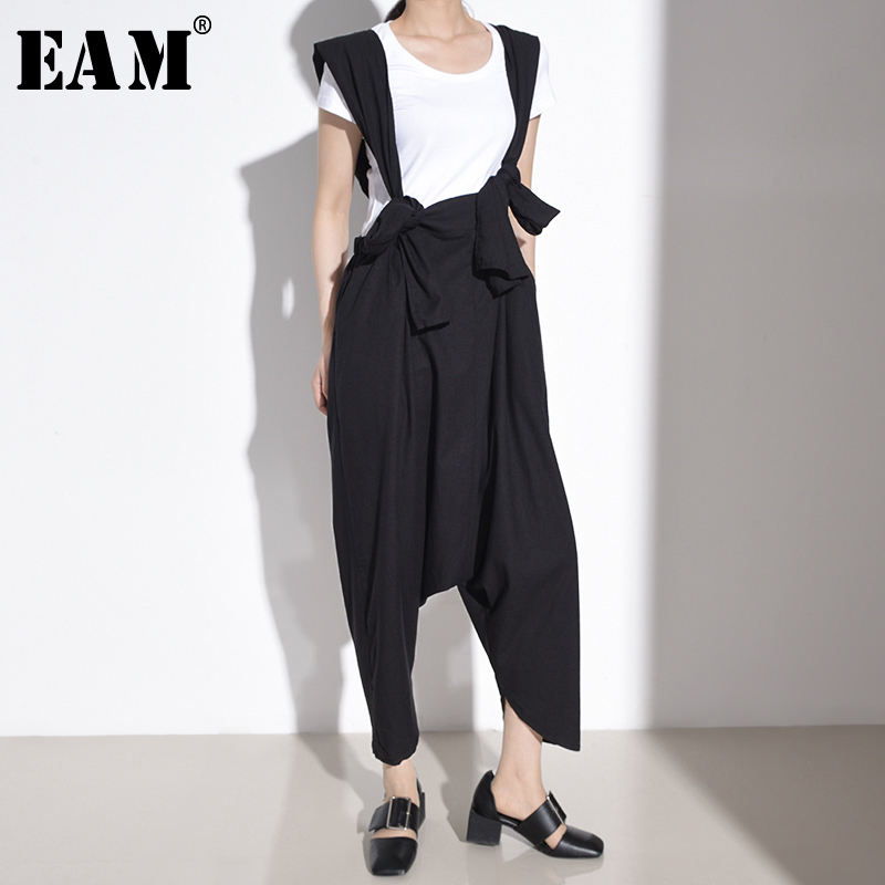[EAM] High Waist Black Brief Bandage Harem Overalls Trousers New Loose Fit Pants Women Fashion Tide Spring Autumn 2020 1T66501