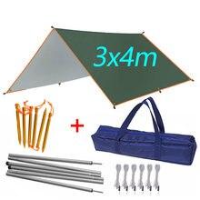 3x4 m plage abri soleil tente imperméable à l'eau pluie mouche UV bâche tente Camping parasol auvent extérieur pare-soleil auvent pour plage