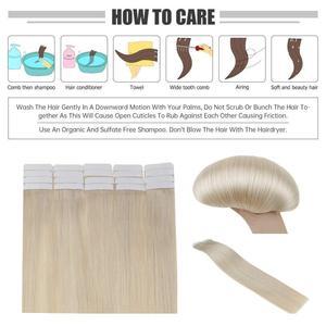 Image 4 - Extensiones de cabello humano con cinta brillante, Color puro, 100g, 40 Uds., adhesivo Rubio liso, máquina de 100%, cabello humano Remy