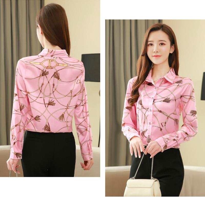 New Silk Shirt Women's Korean 2021 Spring Long Sleeve Shirts for Women Casual Print Women Blouse and Tops Blusas Mujer 8185 50 5