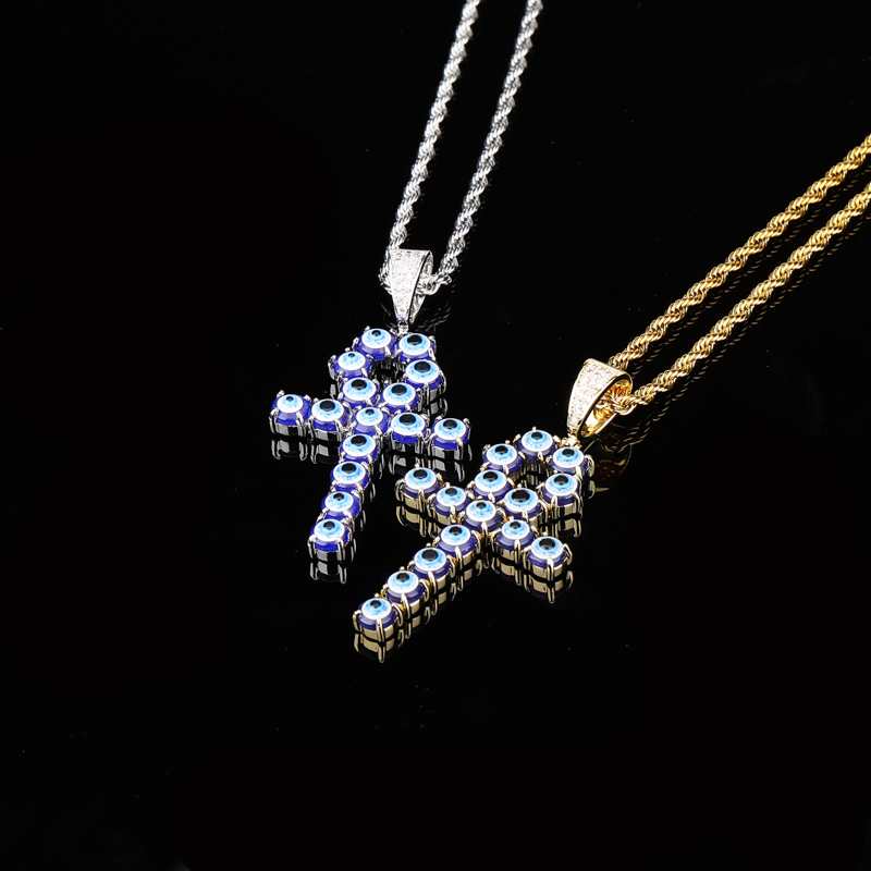 TOPGRILLZ Newest Iced Zircon Turkey Blue Eyes Ankh Cross Pendant Copper CZ Egyptian Key of Life Pendant Necklace Hip Hop Jewelry in Pendant Necklaces from Jewelry Accessories