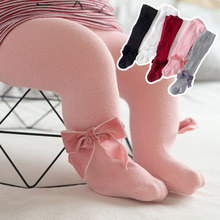 Cute Bowknot Baby Girl Tights Soft Cotton Newborn Pantyhose Solid Color Warm Autumn Winter Infant Toddler Stockings
