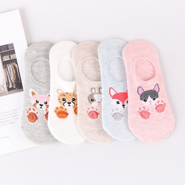 27 Style 10 Piece=5 Pairs/Lot Cute Harajuku Animal Women Socks Set Funny Spring Cat Dog Rabbit Panda Low Cut Short Sock Happy 2
