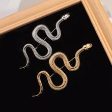 AENSOA Unique Design Gold Color Snake Brooches Women Men Lady Luxury Metal Snake Animal Brooch Pins Party Casual Jewelry Gifts